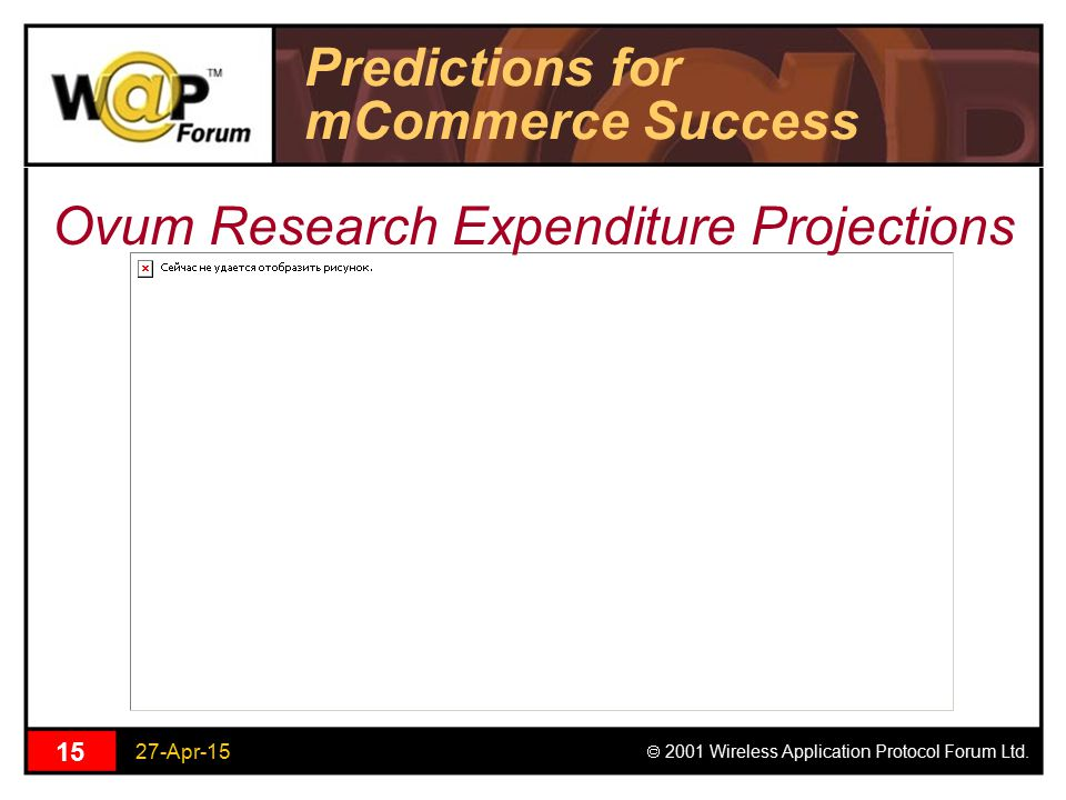 27-Apr-15  2001 Wireless Application Protocol Forum Ltd. 15 Predictions for mCommerce Success Ovum Research Expenditure Projections