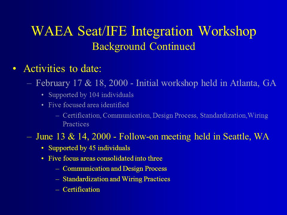 Activities to date: –February 17 & 18, 2000 - Initial workshop held in Atlanta, GA Supported by 104 individuals Five focused area identified –Certification, Communication, Design Process, Standardization,Wiring Practices –June 13 & 14, 2000 - Follow-on meeting held in Seattle, WA Supported by 45 individuals Five focus areas consolidated into three –Communication and Design Process –Standardization and Wiring Practices –Certification WAEA Seat/IFE Integration Workshop Background Continued