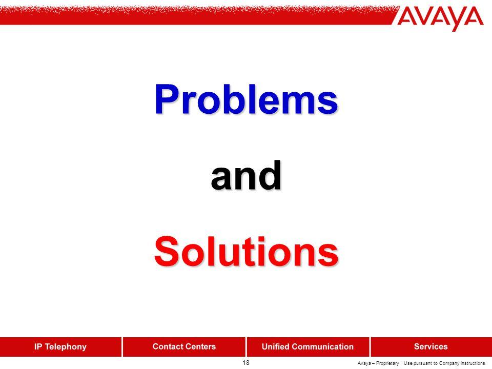 18 Avaya – Proprietary Use pursuant to Company instructions ProblemsandSolutions