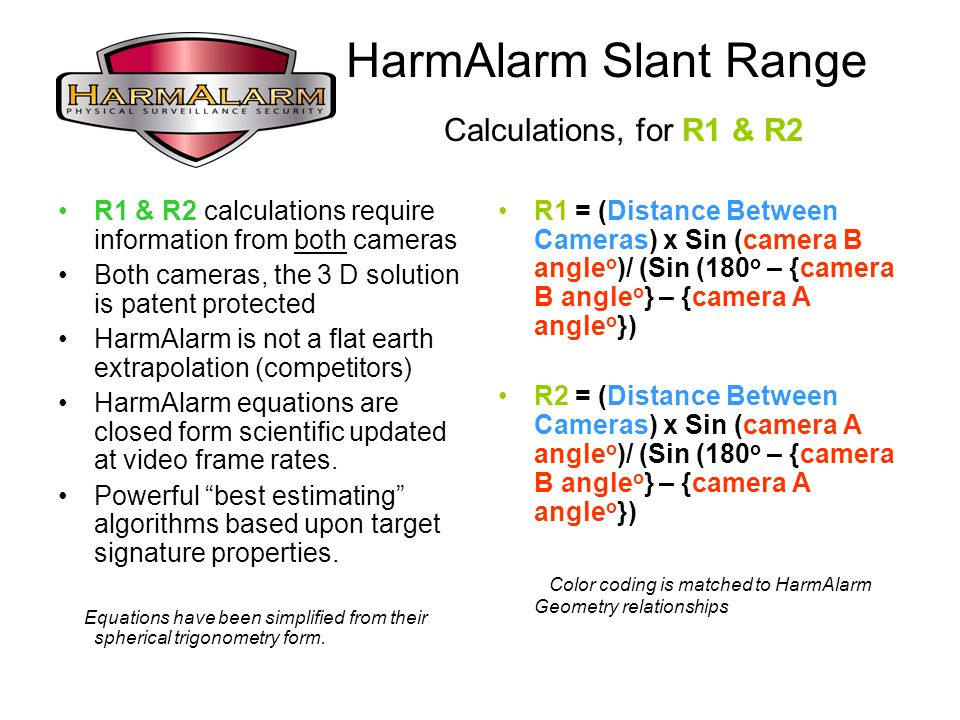 HarmAlarm Slant Range Calculations, for R1 & R2 R1 & R2 calculations require information from both cameras Both cameras, the 3 D solution is patent protected HarmAlarm is not a flat earth extrapolation (competitors) HarmAlarm equations are closed form scientific updated at video frame rates.