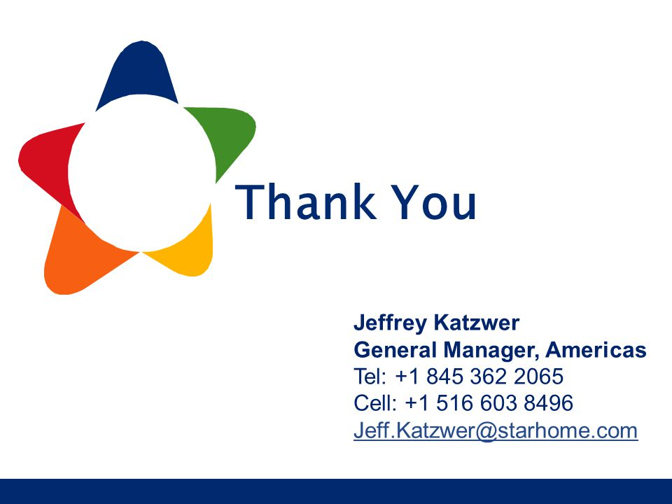 Starhome proprietary and confidential R o a m i n g S e r v i c e s Thank You Jeffrey Katzwer General Manager, Americas Tel: +1 845 362 2065 Cell: +1
