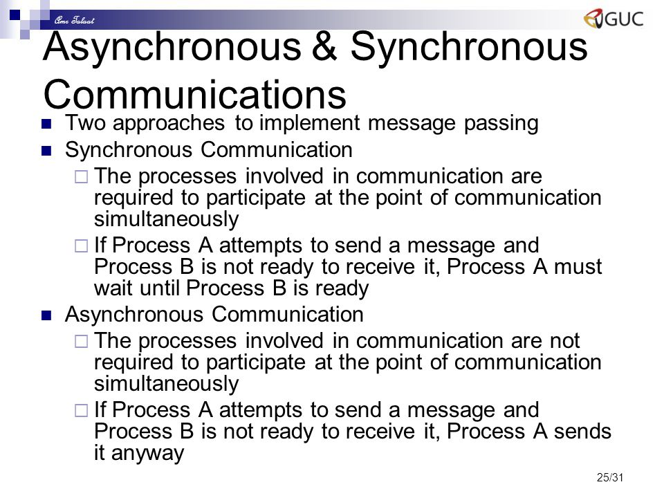 Amr Talaat 25/31 Asynchronous & Synchronous Communications Two approaches to implement message passing Synchronous Communication  The processes invol