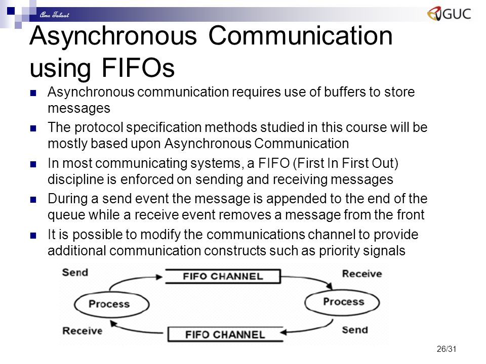 Amr Talaat 26/31 Asynchronous Communication using FIFOs Asynchronous communication requires use of buffers to store messages The protocol specificatio