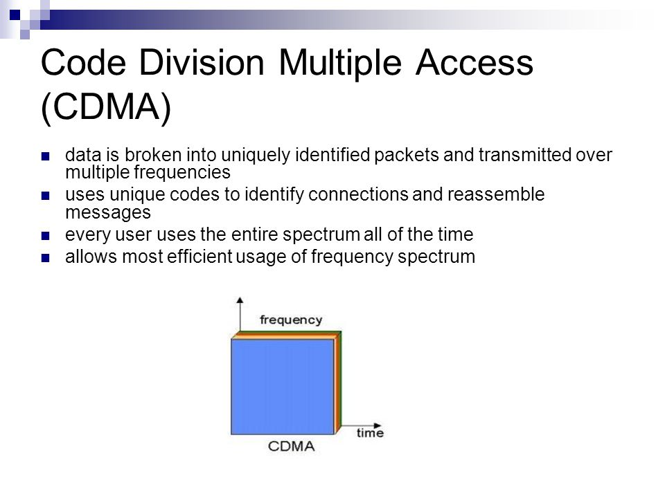 Code Division Multiple Access (CDMA) data is broken into uniquely identified packets and transmitted over multiple frequencies uses unique codes to id