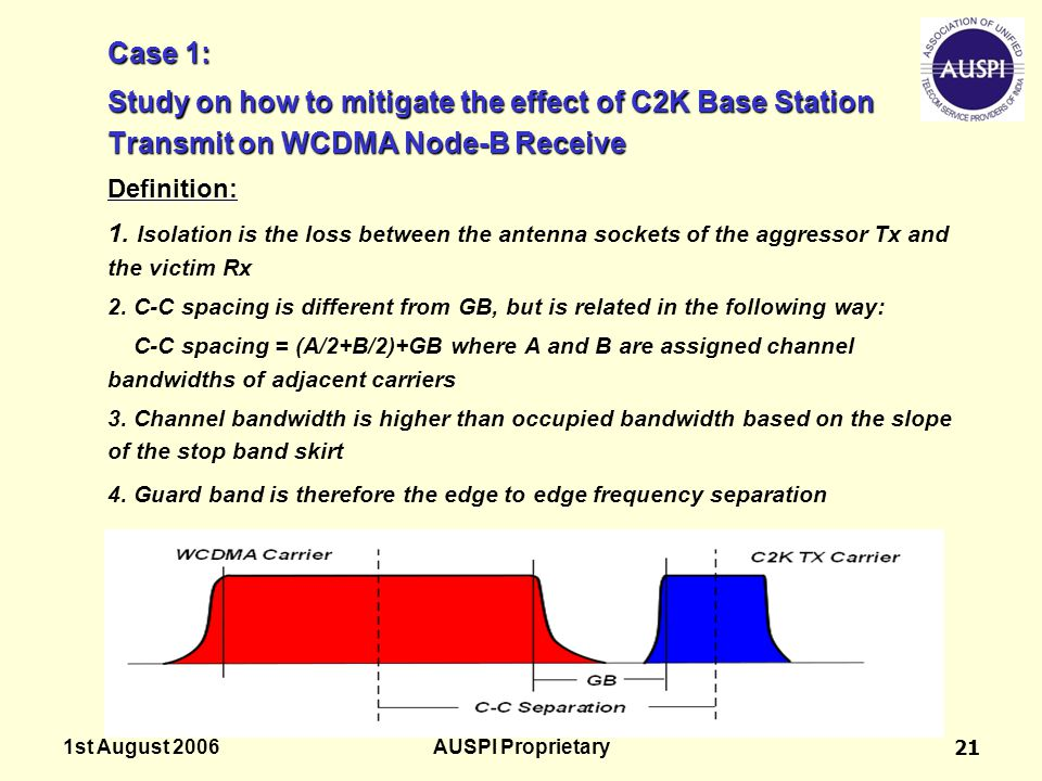 1st August 2006AUSPI Proprietary21 Case 1: Study on how to mitigate the effect of C2K Base Station Transmit on WCDMA Node-B Receive Definition: 1. Iso