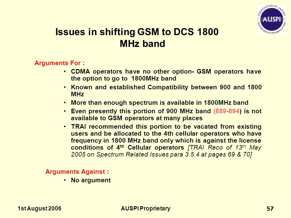 1st August 2006AUSPI Proprietary57 Issues in shifting GSM to DCS 1800 MHz band Arguments For : CDMA operators have no other option- GSM operators have