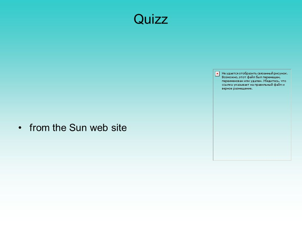 Quizz from the Sun web site