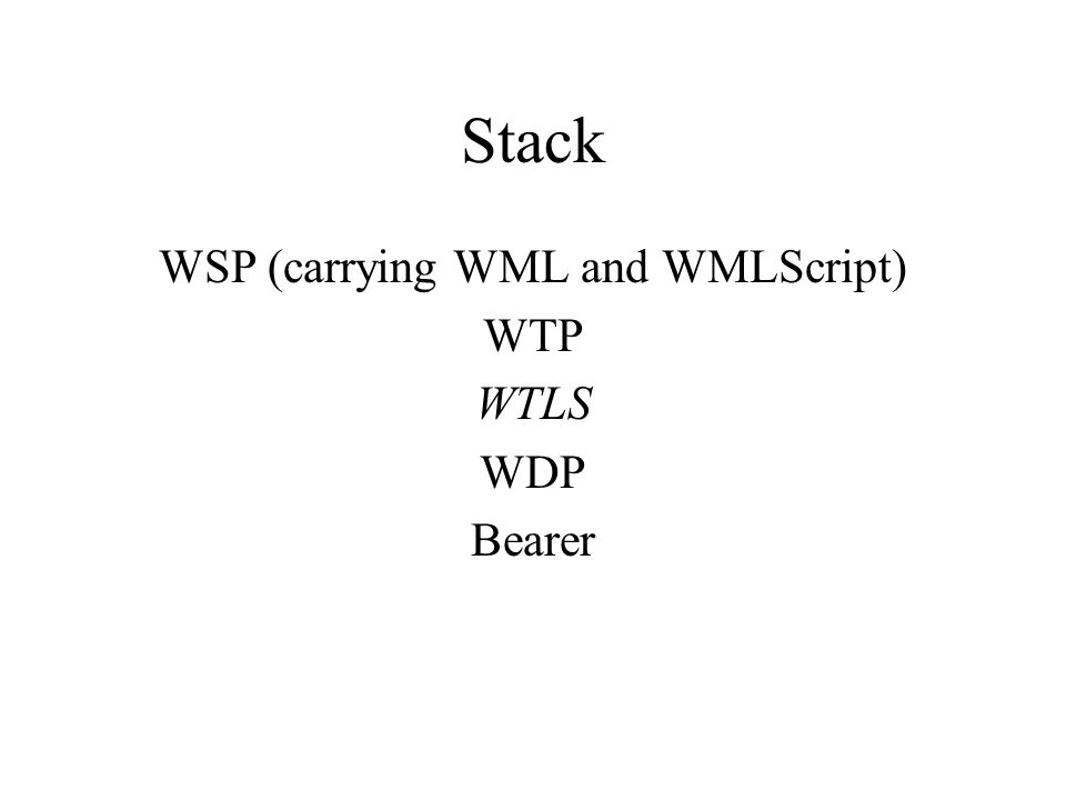 Stack WSP (carrying WML and WMLScript) WTP WTLS WDP Bearer