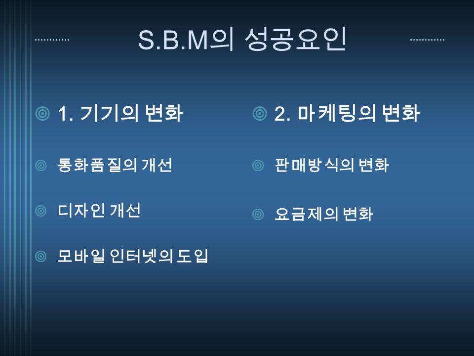 S.B.M 의 성공요인  1. 기기의 변화  통화품질의 개선  디자인 개선  모바일 인터넷의 도입  2. 마케팅의 변화  판매방식의 변화  요금제의 변화