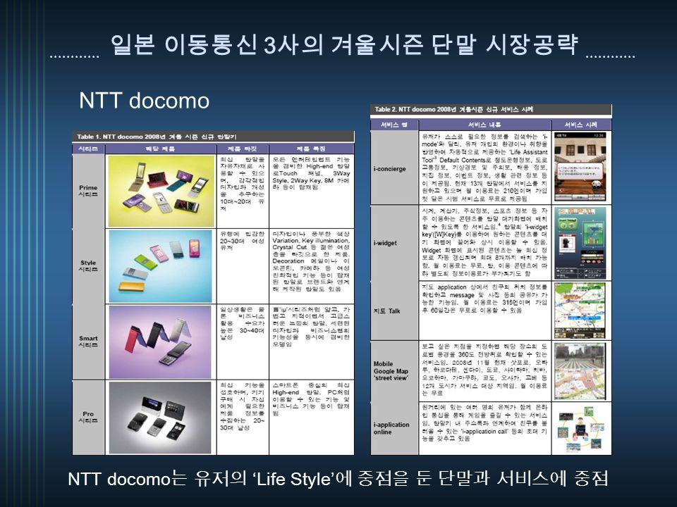 일본 이동통신 3 사의 겨울시즌 단말 시장공략 NTT docomo 는 유저의 'Life Style' 에 중점을 둔 단말과 서비스에 중점 NTT docomo