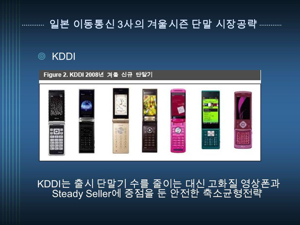 일본 이동통신 3 사의 겨울시즌 단말 시장공략  KDDI KDDI 는 출시 단말기 수를 줄이는 대신 고화질 영상폰과 Steady Seller 에 중점을 둔 안전한 축소균형전략