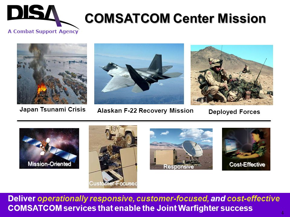 A Combat Support Agency Inmarsat (MSS) Requirements Commercial Inmarsat Services: –Voice /FAX/Data/Static IP as core services –No Monthly Recurring Cost (MRC) for BGAN services –Information Assurance (potentially up to MAC I) –Net Ready (Interoperability) –Network Monitoring and Usage & Fault Reporting –BGAN Subscriber Identity Module (SIM) Card Transfer –Customer Service Support (24x7) –Service Activation Plan & Transition Support –Single vendor required for privatized/closed user group networks –Single vendor to support full range of services Recompete Requirements: –Current Inmarsat contract expires in June 2012 –~ 8,000 Inmarsat Customer Service Authorization (CSA) must be competed on FCSA –Transition for each CSA requires two steps (potential for ~16,000 contract actions) –Discontinue prior service –Activate new service 15