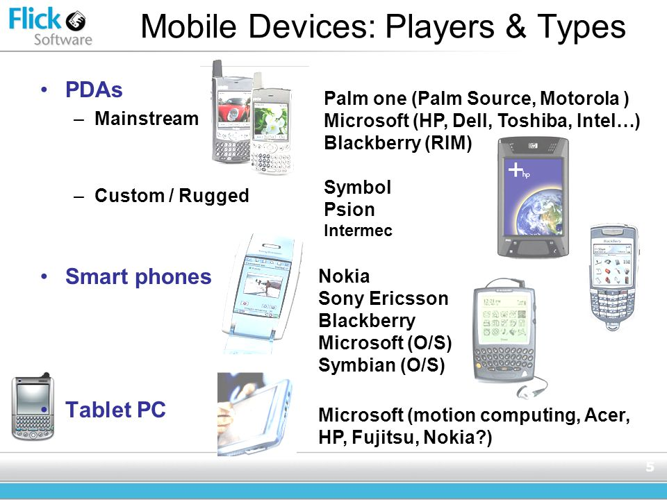 5 Mobile Devices: Players & Types PDAs –Mainstream –Custom / Rugged Smart phones Tablet PC Palm one (Palm Source, Motorola ) Microsoft (HP, Dell, Toshiba, Intel…) Blackberry (RIM) Symbol Psion Intermec Nokia Sony Ericsson Blackberry Microsoft (O/S) Symbian (O/S) Microsoft (motion computing, Acer, HP, Fujitsu, Nokia?)