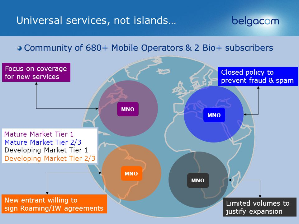 Belgacom International Carrier Services 4 Universal services, not islands… Community of 680+ Mobile Operators & 2 Bio+ subscribers MNO Focus on coverage for new services Mature Market Tier 1 Closed policy to prevent fraud & spam Mature Market Tier 2/3 Limited volumes to justify expansion Developing Market Tier 1 New entrant willing to sign Roaming/IW agreements Developing Market Tier 2/3