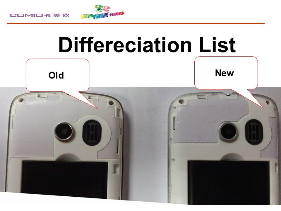 Differeciation List Old New
