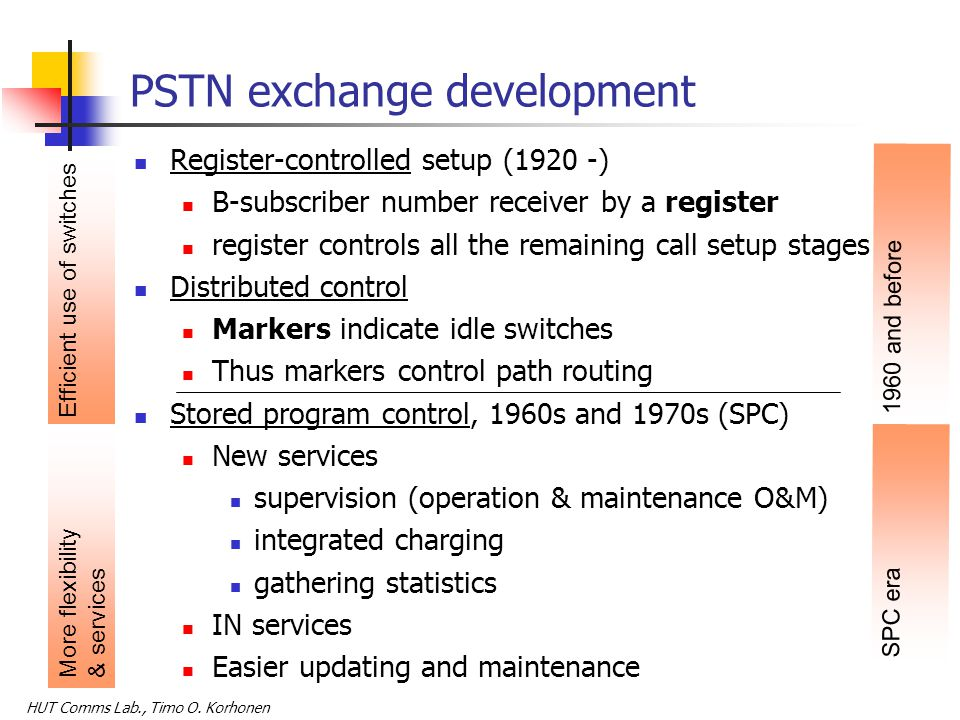 HUT Comms Lab., Timo O. Korhonen Categorizing switching SPC: Stored program control