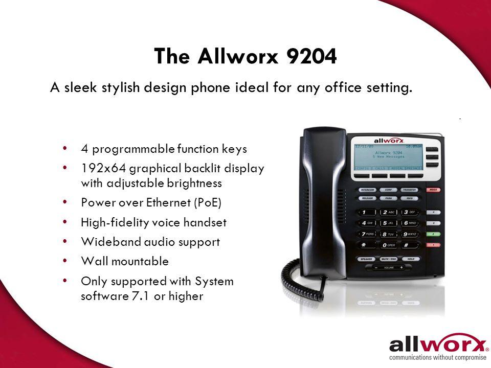 The Allworx 9212 12 programmable, 3-color Feature Keys 7 Interactive Soft Keys 11 Fixed Feature Keys Full-Duplex Speakerphone Built-in Headset Jack Bu