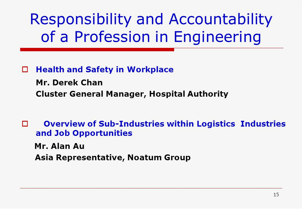 Responsibility and Accountability of a Profession in Engineering  Business Ethical Issues and Examples Mr.