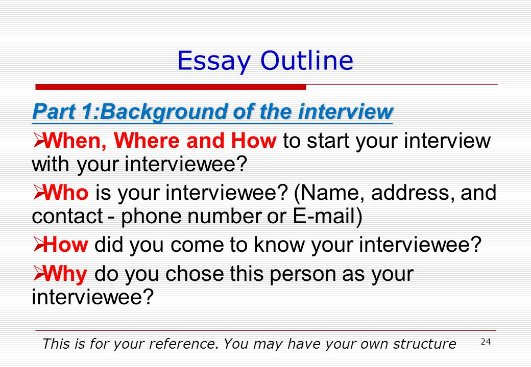 Essay Cover Page (Download from the Course Website) Attach the interviewee's business card with your essay Student Name:ID: Department:Major: E-mail: Who did you interview.