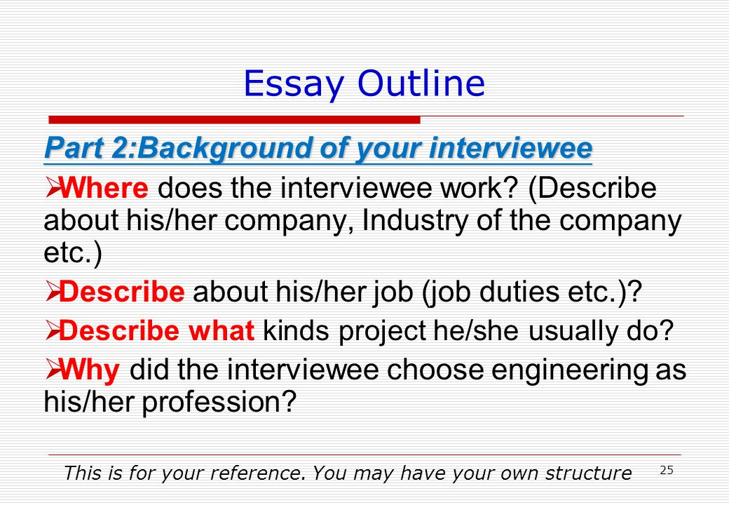 Essay Outline Part 1:Background of the interview  When, Where and How to start your interview with your interviewee.