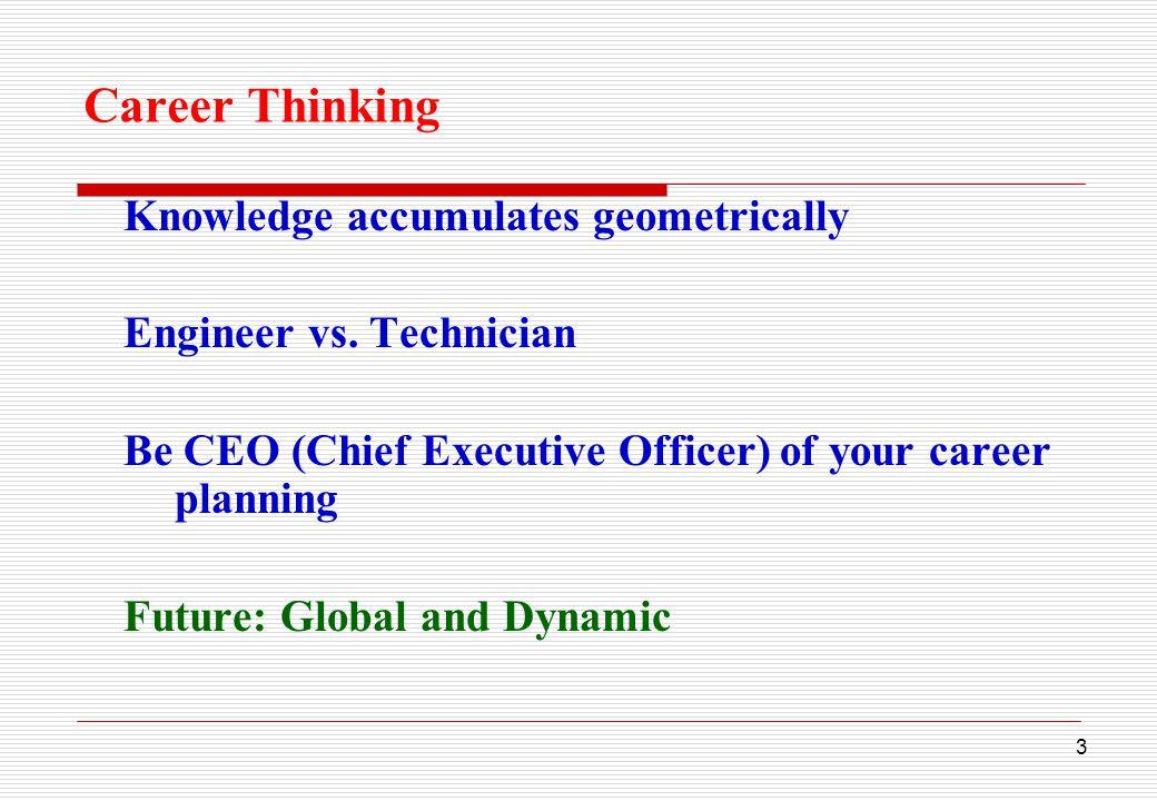 3 Career Thinking Knowledge accumulates geometrically Engineer vs.
