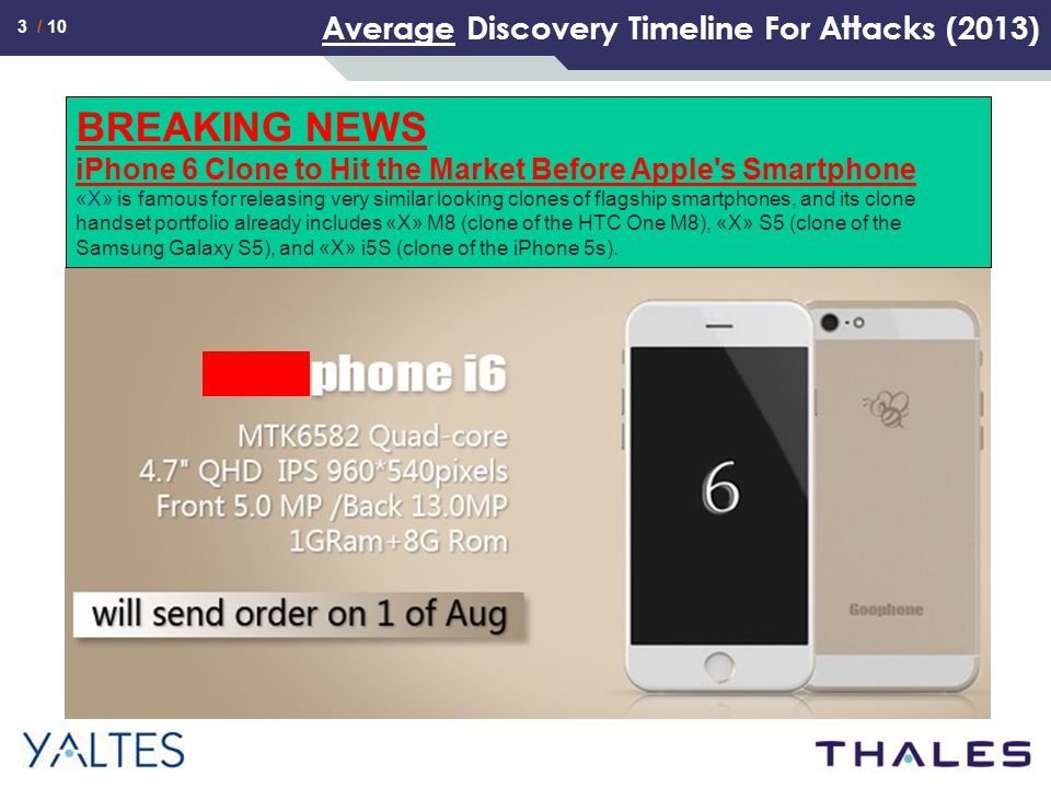 3 / 10 Average Discovery Timeline For Attacks (2013) Stastistics for cyber espionage BREAKING NEWS iPhone 6 Clone to Hit the Market Before Apple s Smartphone «X» is famous for releasing very similar looking clones of flagship smartphones, and its clone handset portfolio already includes «X» M8 (clone of the HTC One M8), «X» S5 (clone of the Samsung Galaxy S5), and «X» i5S (clone of the iPhone 5s).