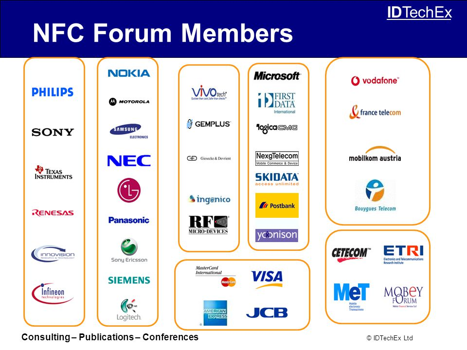 Consulting – Publications – Conferences © IDTechEx Ltd IDTechEx NFC Forum Members