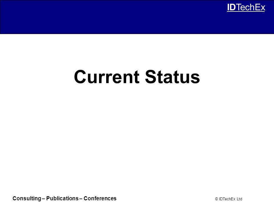 Consulting – Publications – Conferences © IDTechEx Ltd IDTechEx Current Status