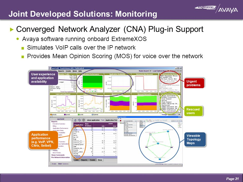 Joint Developed Solutions: Monitoring Page 21  Converged Network Analyzer (CNA) Plug-in Support Avaya software running onboard ExtremeXOS ∎ Simulates VoIP calls over the IP network ∎ Provides Mean Opinion Scoring (MOS) for voice over the network