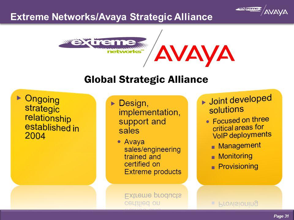 Extreme Networks/Avaya Strategic Alliance Page 31