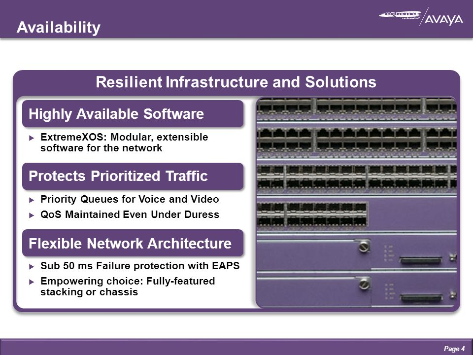 Availability Page 4 Resilient Infrastructure and Solutions Highly Available Software  ExtremeXOS: Modular, extensible software for the network Flexible Network Architecture  Sub 50 ms Failure protection with EAPS  Empowering choice: Fully-featured stacking or chassis Protects Prioritized Traffic  Priority Queues for Voice and Video  QoS Maintained Even Under Duress