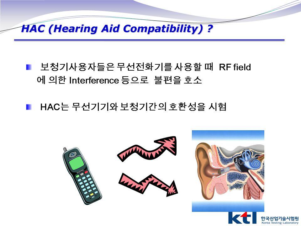 보청기사용자들은 무선전화기를 사용할 때 RF field 에 의한 Interference 등으로 불편을 호소 HAC 는 무선기기와 보청기간의 호환성을 시험 HAC (Hearing Aid Compatibility) ?