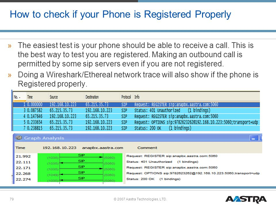 © 2007 Aastra Technologies, LTD.79 How to check if your Phone is Registered Properly »The easiest test is your phone should be able to receive a call.