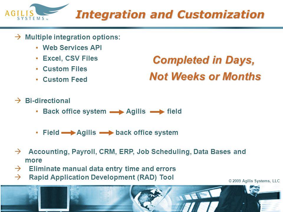 © 2009 Agilis Systems, LLC Integration and Customization  Multiple integration options: Web Services API Excel, CSV Files Custom Files Custom Feed 