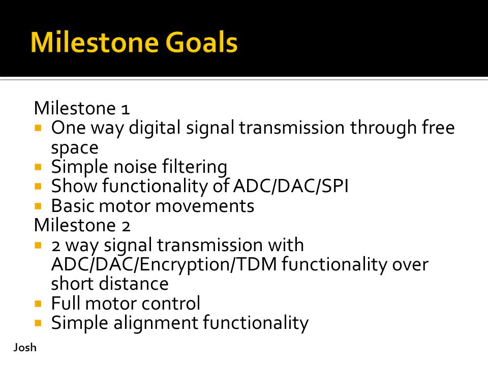 Milestone 1  One way digital signal transmission through free space  Simple noise filtering  Show functionality of ADC/DAC/SPI  Basic motor movements Milestone 2  2 way signal transmission with ADC/DAC/Encryption/TDM functionality over short distance  Full motor control  Simple alignment functionality Josh