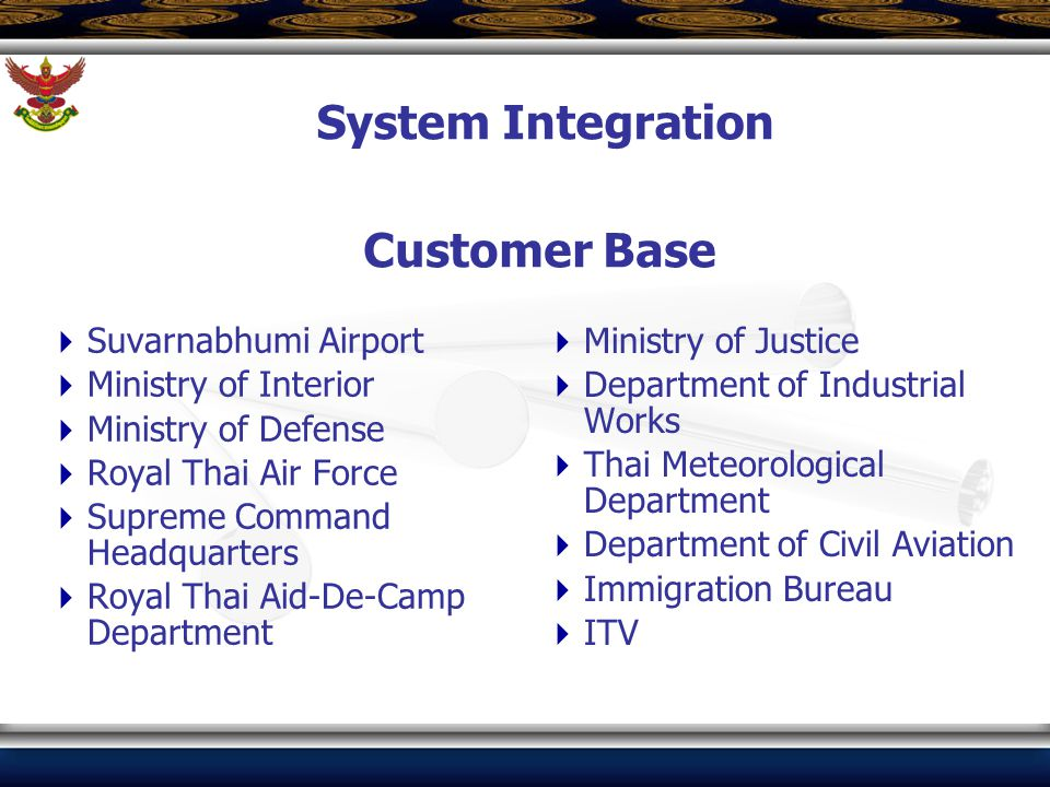 Customer Base  Suvarnabhumi Airport  Ministry of Interior  Ministry of Defense  Royal Thai Air Force  Supreme Command Headquarters  Royal Thai A