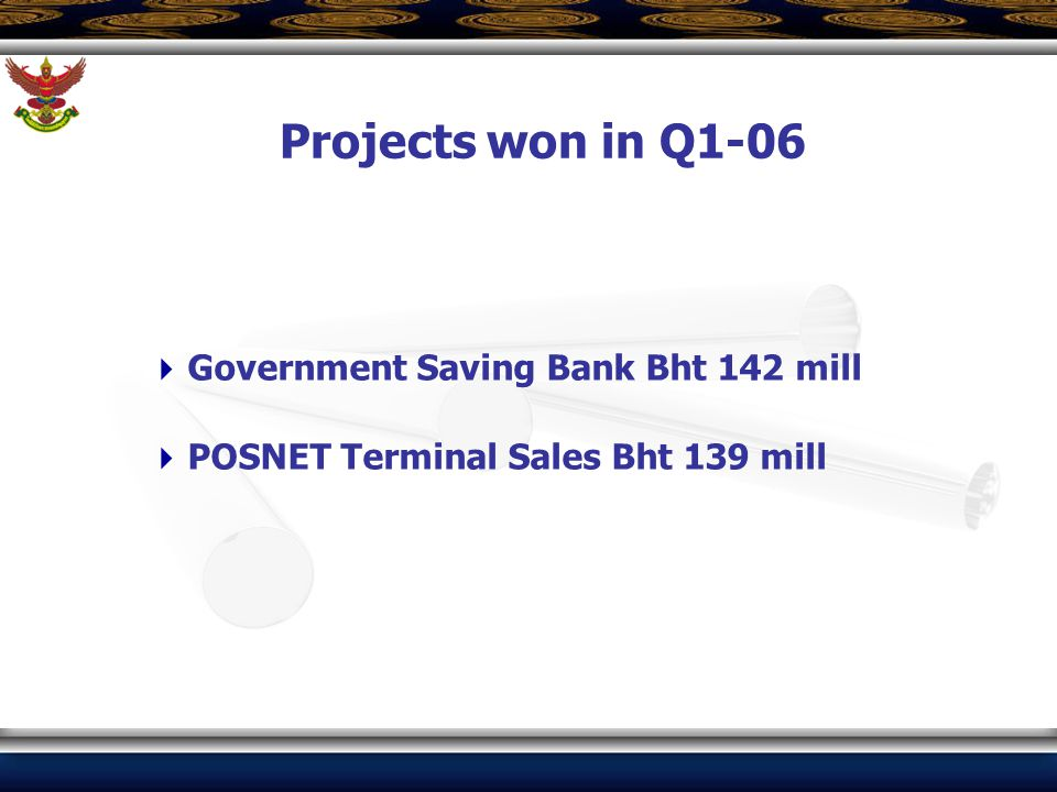  Government Saving Bank Bht 142 mill  POSNET Terminal Sales Bht 139 mill Projects won in Q1-06