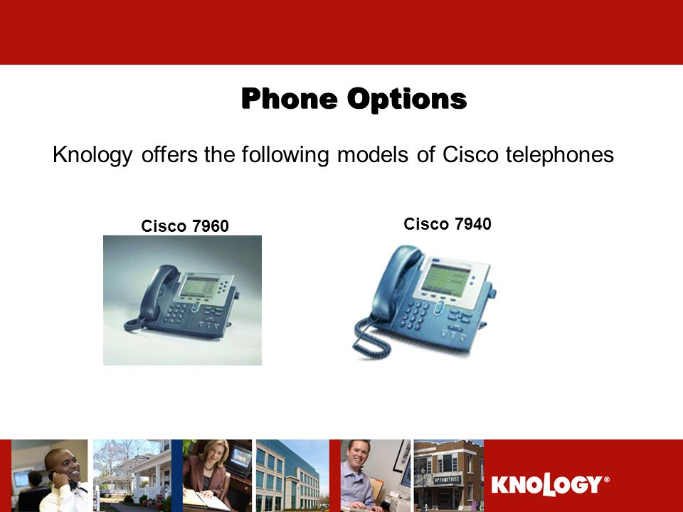 Phone Options Knology offers the following models of Cisco telephones Cisco 7960 Cisco 7940