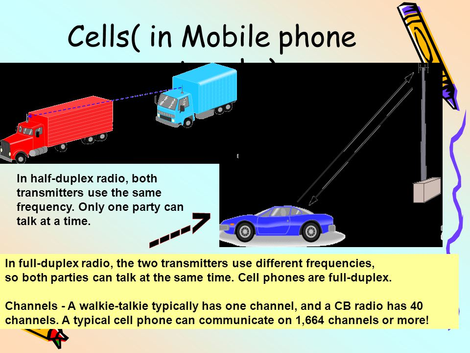 Cells( in Mobile phone networks) In full-duplex radio, the two transmitters use different frequencies, so both parties can talk at the same time. Cell