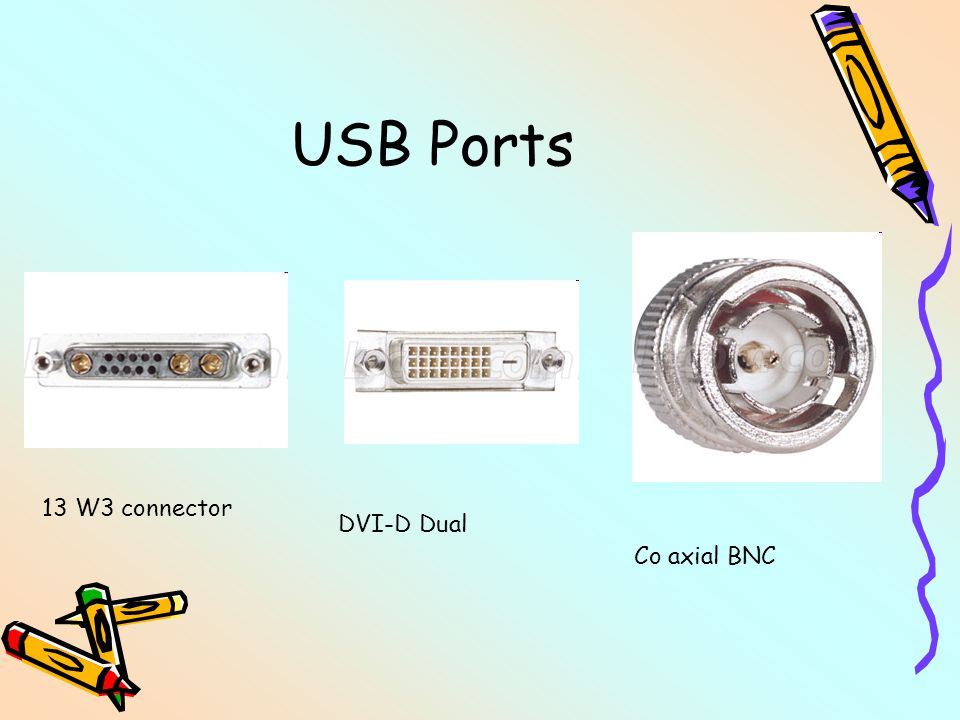 USB Ports Co axial BNC DVI-D Dual 13 W3 connector