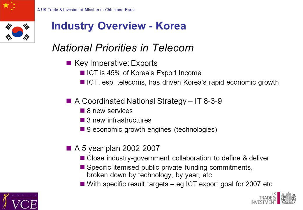 A UK Trade & Investment Mission to China and Korea Industry Overview - Korea National Priorities in Telecom Key Imperative: Exports ICT is 45% of Korea's Export Income ICT, esp.