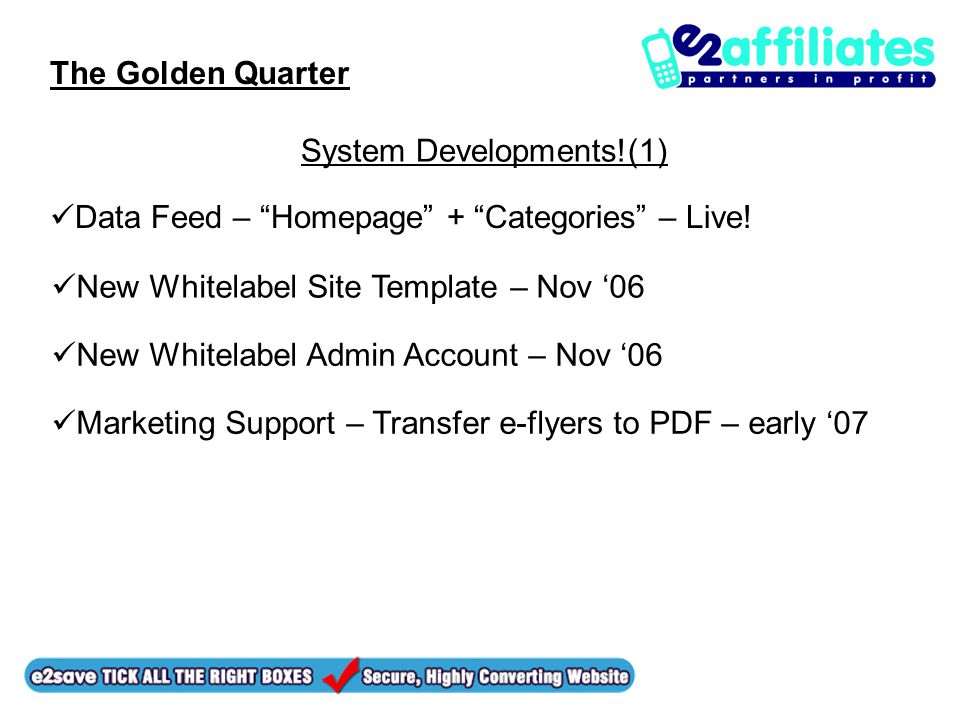 The Golden Quarter Data Feed – Homepage + Categories – Live.
