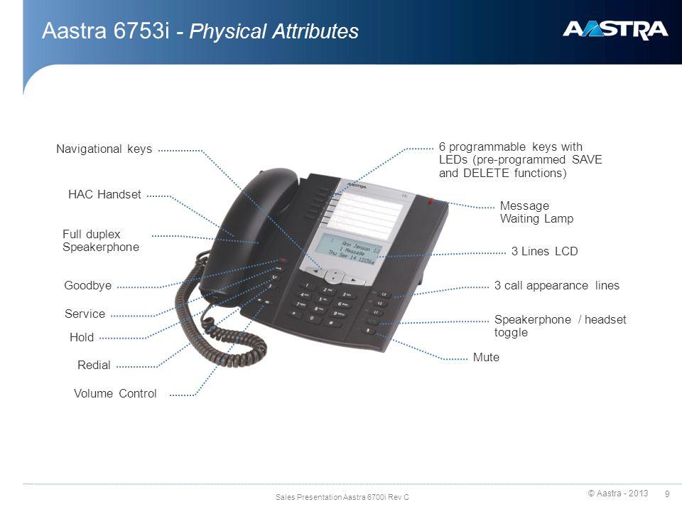 © Aastra - 2013 30 Sales Presentation Aastra 6700i Rev C XML
