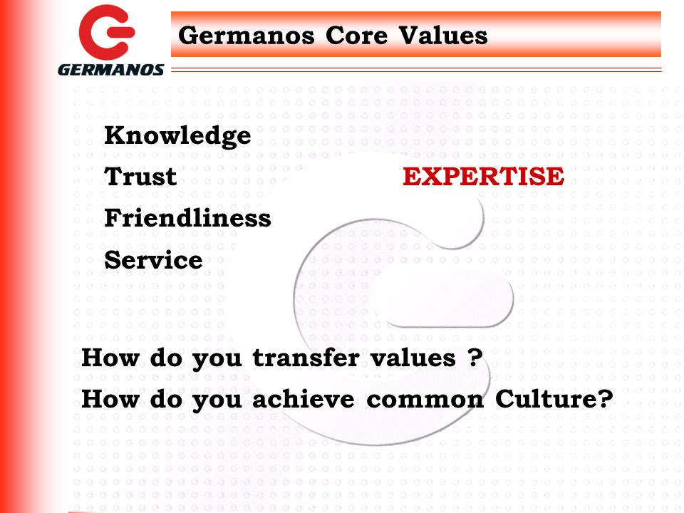 Germanos Core Values Knowledge Trust Friendliness Service EXPERTISE How do you transfer values .