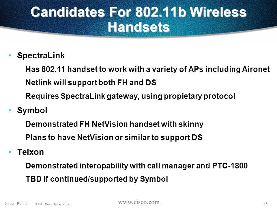 14 Xircom Partner © 1999, Cisco Systems, Inc. 802.11 Wireless Handset Status