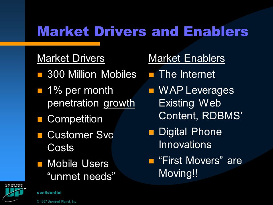 © 1997 Unwired Planet, Inc. confidential Market Drivers and Enablers Market Drivers n 300 Million Mobiles n 1% per month penetration growth n Competit