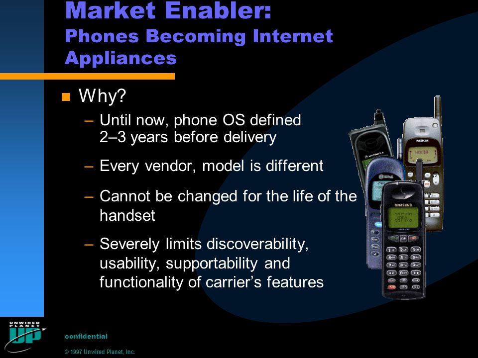 © 1997 Unwired Planet, Inc.confidential Market Enabler: Phones Becoming Internet Appliances n Why.