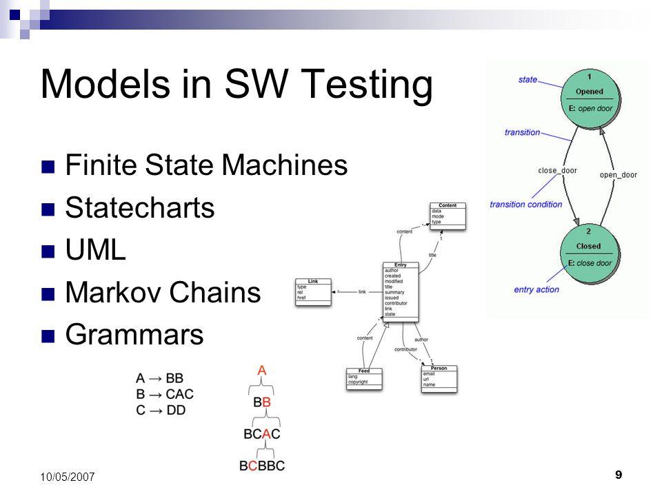 9 10/05/2007 Models in SW Testing Finite State Machines Statecharts UML Markov Chains Grammars