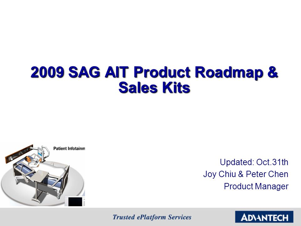 2009 SAG AIT Product Roadmap & Sales Kits Updated: Oct.31th Joy Chiu & Peter Chen Product Manager