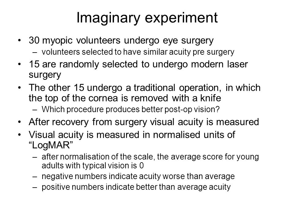 Imaginary experiment 30 myopic volunteers undergo eye surgery –volunteers selected to have similar acuity pre surgery 15 are randomly selected to undergo modern laser surgery The other 15 undergo a traditional operation, in which the top of the cornea is removed with a knife –Which procedure produces better post-op vision.